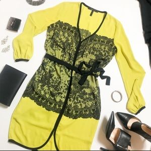 BCBGMaxazria Neon Black Lace Long Sleeve Dress
